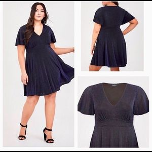 Torrid Black with Blue Shimmer Skater Dress Size 1